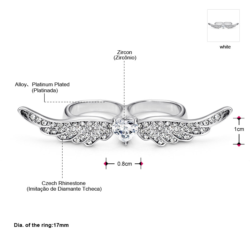 Neoglory Brazil AAA Zircon Rhinestone Angle Love Wings Rings for Two Fingers Women Wedding Party Fashion Jewelry 2018 CLE