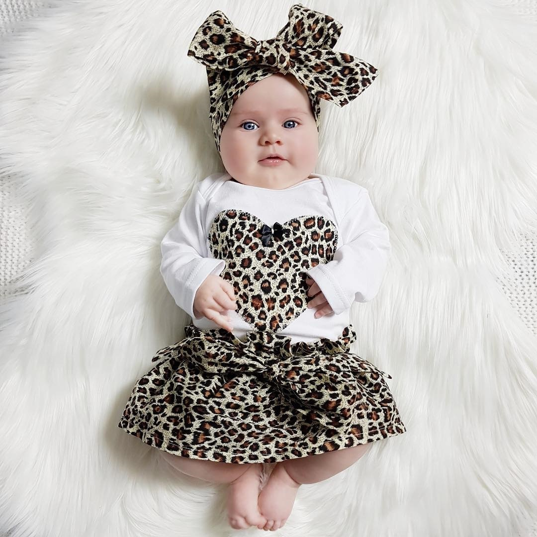Fashion leopard Baby Girl Clothes Sets Newborn Toddler Girl romper+skirt+Headband 3pcs For Kids Suits new baby girls clothes