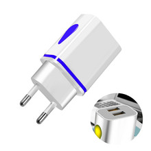 Chargeur USB chargeurs muraux 5V 2.1A adaptateur chargeur pour iPhone XR XS Max X 10 prise EU/US LED double chargeur de téléphone USB pour Huawei P20