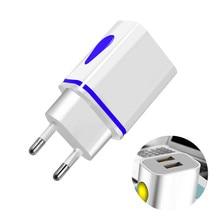 USB Charger เครื่องชาร์จ 5V 2.1A อะแดปเตอร์ Charing สำหรับ iPhone XR XS Max X 10 EU/US Plug LED Dual USB ชาร์จโทรศัพท์สำหรับ Huawei P20