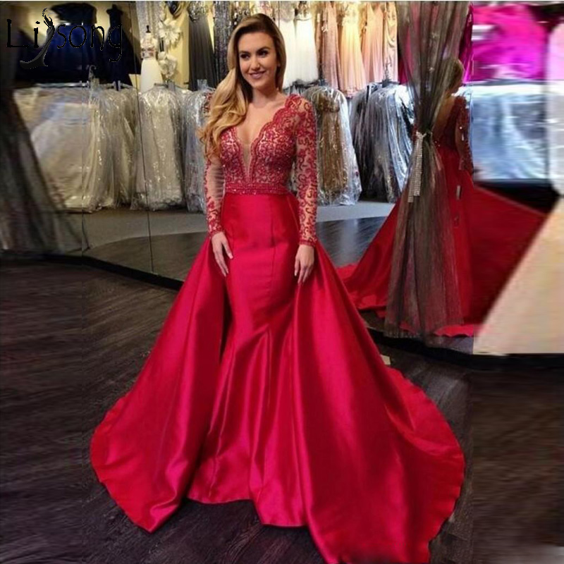 Elegant Mermaid   Prom     Dresses   Long Sleeves Open Back Beads Luxury Party   Prom     Dress   Custom Made Robe De Soiree Pageant Party Gowns