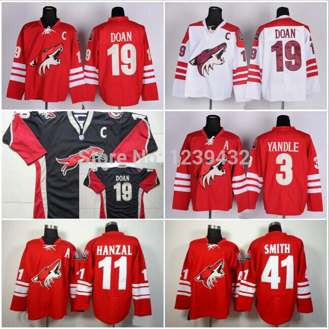 online store d4584 fa0f9 US $27.99 |Cheap Coyotes Ice Hockey Jersey Martin Hanzal #11 Shane Doan 19  etc Red White Black Stitched Authentic Sportswear-in Hockey Jerseys from ...