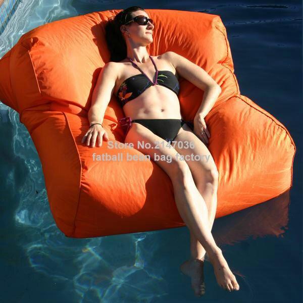 Orange Swimming Pool Side Bean Bag Chair, 2 Room Seat Extra Wide Waterproof Beanbag Sofa Seat,outdoor Big Space Furniture Set