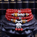 New 6mm Natural Red Agate Collocation Tiger Stone Beads Multilayer Stretch Bracelet Tissu Safety Lock Bracelets For Women