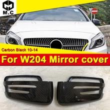цена на For Mercedes Benz W204 Side door mirror cover Carbon fiber black 2pcs C class C180 C200 C250 C63AMG style 1:1 Replacement 10-14