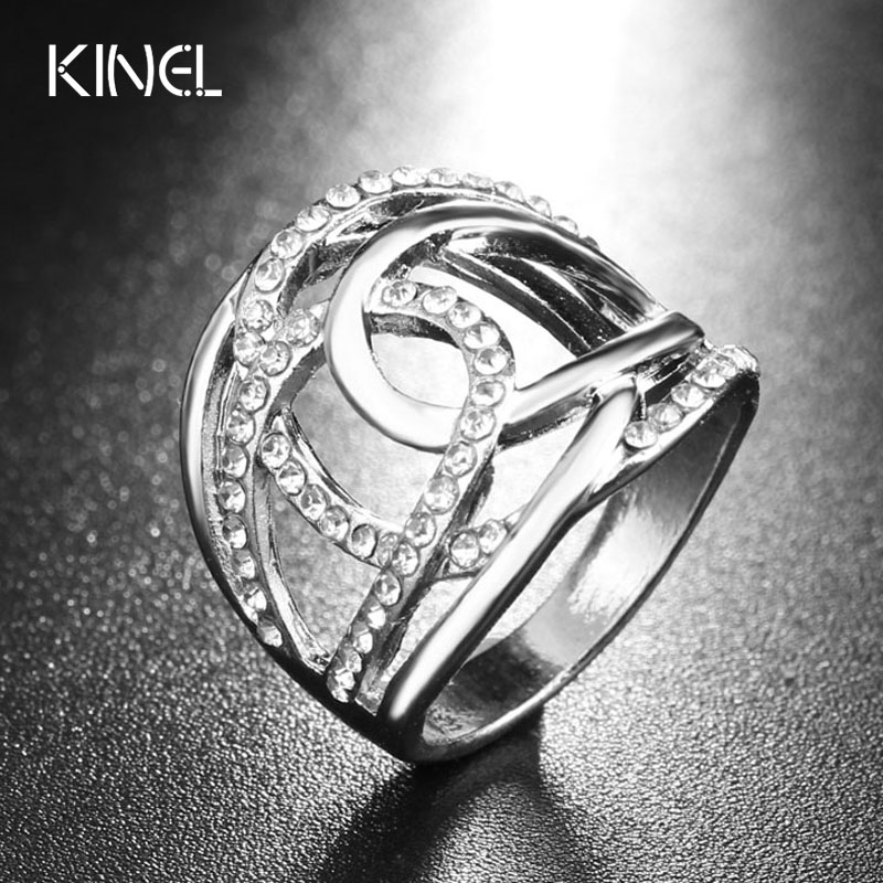 2017 Fashion Wedding Rings For Women Silver Color White Czech Drill Double C Lines Cross Brand Clothing Accessories Jewelry