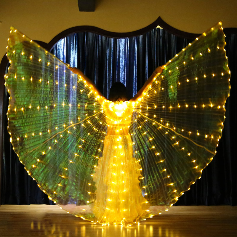 2018 Stafe Performance Prop Women Dancewear Costume Accessory DJ LED Wings Light Up Wings Belly Dance