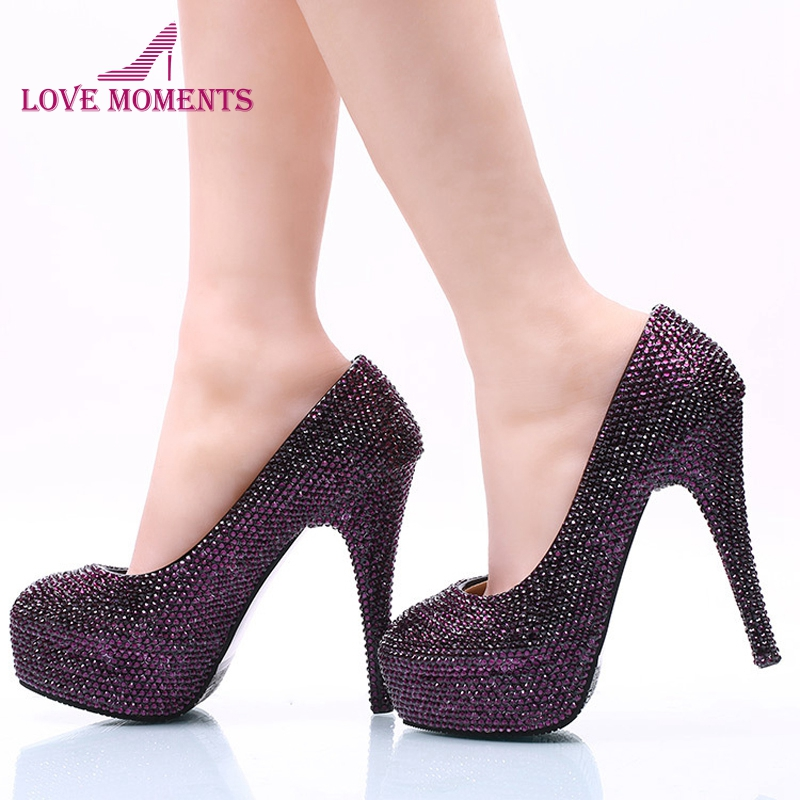 Dark Purple Rhinestone Wedding Party Shoes Size 42 43 and 44 Super High Heel Stiletto Heel Bridal Dress Shoes Party Prom Pumps aiweiyi women high heels prom wedding shoes ladies gold silver glitter rhinestone bridal shoes stiletto high heel party pumps