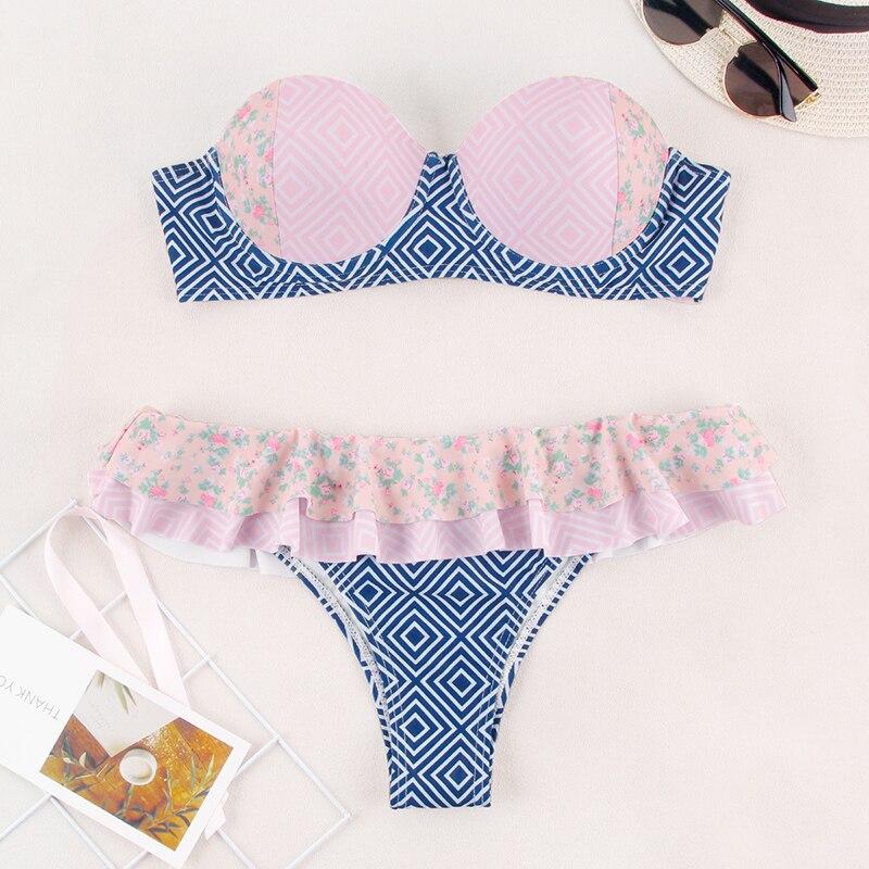 HTB1L5kgelKw3KVjSZFOq6yrDVXay Miyouj Ruffle Bikini Off Shoulder Floral Swimsuit Bandage Bow Swimwear Push Up Biquini Feminino Bathing Suit Women Bikini Set