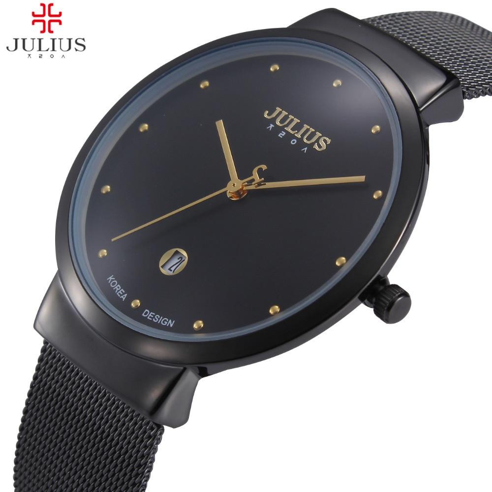 Top Luxury Brand Julius Men Women Watches Steel Mesh Quartz Calendar Wrist watch Thin Dial Clock Reloj Hombre Relogio Feminino