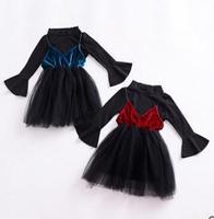 2 cái Trẻ Sơ Sinh New Baby Bé Gái Mùa Thu Mùa Xuân Dài Tay Áo dệt kim Với Bow Trẻ Sơ Sinh Sơ Sinh đen Tutu Công Chúa Váy Bé ăn mặc