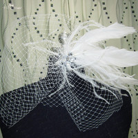 HHV11 Wholesale New Beautiful Feather Real Sample Bride Birdcage Veil