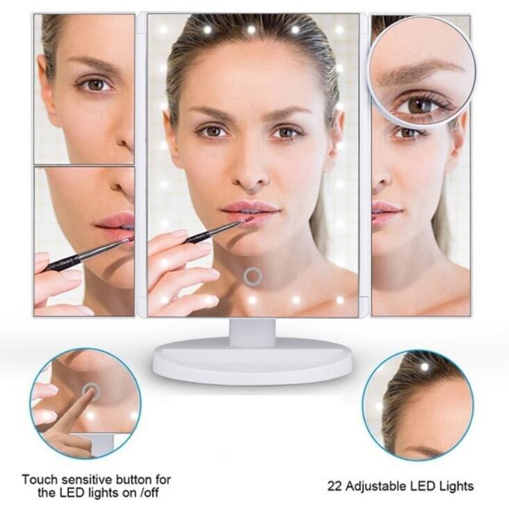 Pflichtbewusst 22 Led-leuchten Touchscreen Make-up Spiegel 1x 2x 3x 10x Helle Einstellbare Vergrößerungs Spiegel Eitelkeit 3 Folding Einstellbare Spiegel Ruf Zuerst Spiegel Schminkspiegel