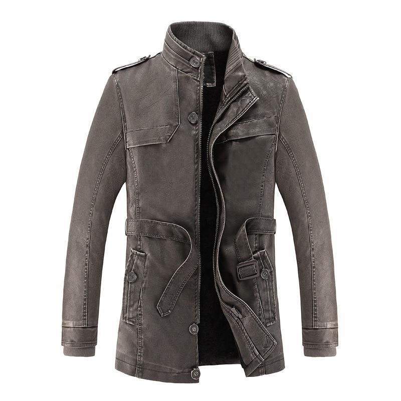 Winter Fashion Men Jacket Stand Collar Streetwear Thick Velvet Warm Casual Long Jackets Men Trench Coats PU Leather Biker Jacket