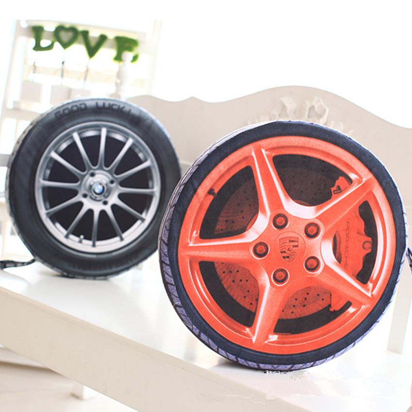 1PC 38CM 3D Personalise Automobile Wheel Tires Pillow Plush Cushion Pollow Cushion With Filling Simulate Tire Pillow Cushions