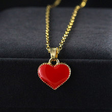 Simple Love Choker Necklace Statement Chain Boho Enamel Red heart Pendants Necklaces Bijoux Female Hot Sale Gift Wholesale(China)