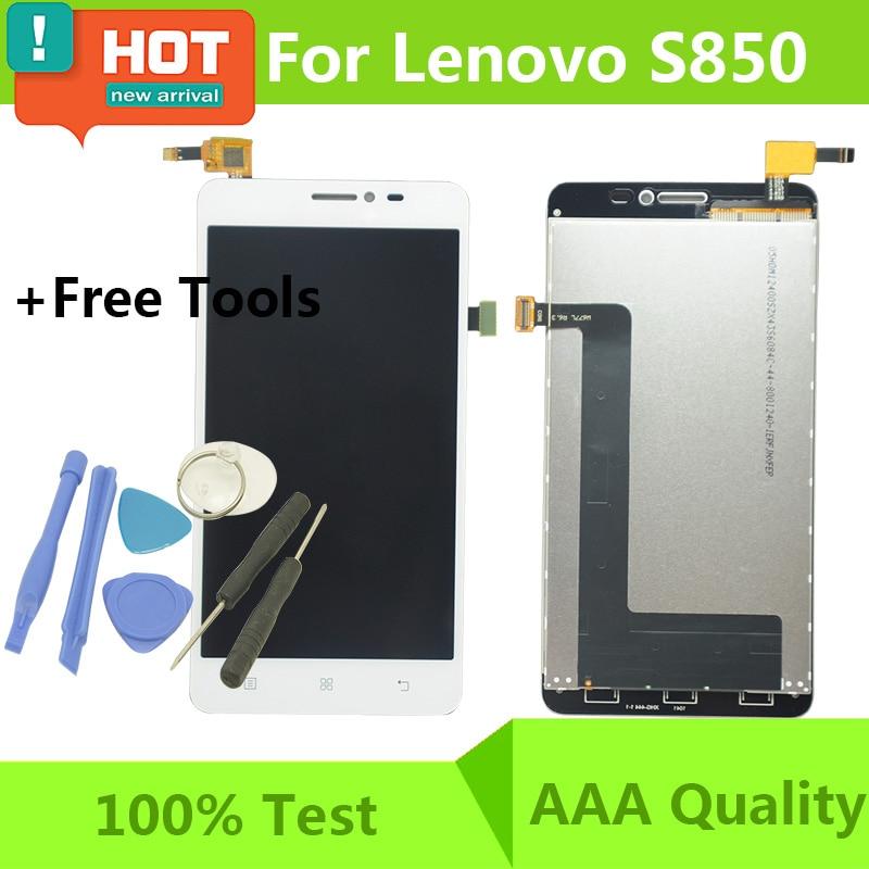 imágenes para 100% prueba de garantía negro/blanco original del lcd para lenovo s850 s850t pantalla lcd táctil digitalizador asamblea con el reemplazo
