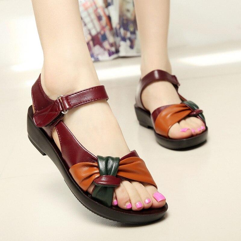 цены Women Summer Sandals Hook Loop Elegant Soft Leather Shoes Flat Beach Slipper Sandalias