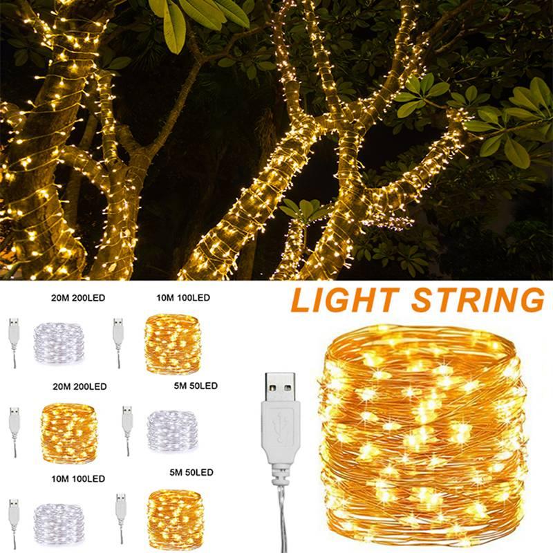 5/10/20m Fairy Led String Lights 50/100/200LED Waterproof Copper Wire Light Wedding Festival Decor Guirlande Lumineuse Exterieur