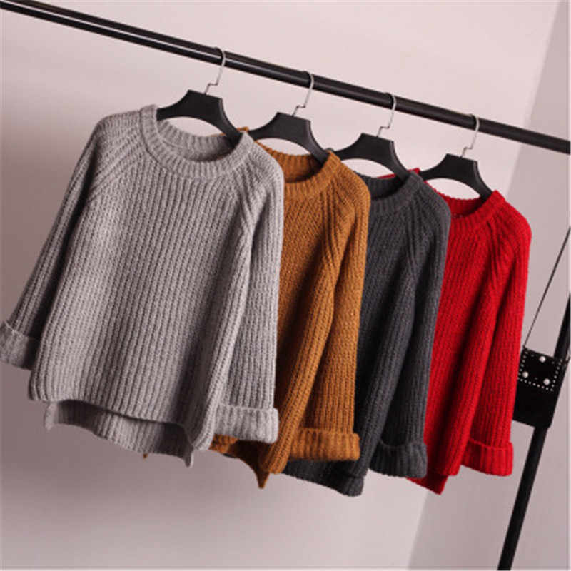 Korean fashion 2018 new autumn winter sweater loose sleeve all-match female knitted sweater coat thick dress shirt pullovers 678