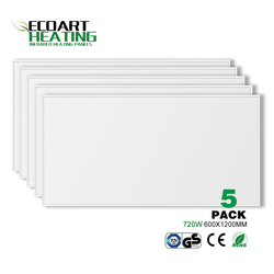 5pcs 720W Infrared Heater Panel Carbon Crystal White PET Heating Panel Home Office Yoga Studio  600*1200mm
