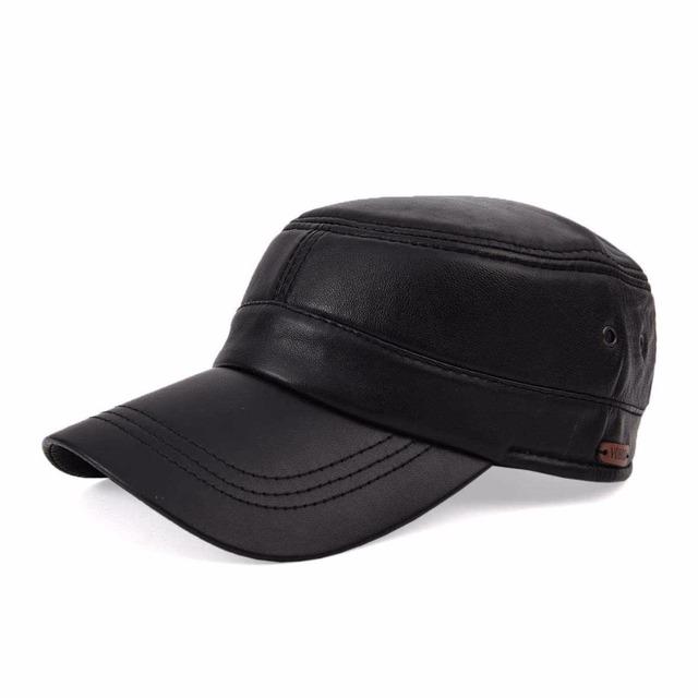 Voboom outono inverno chapéu masculino de pele de carneiro camurça de couro tampa plana cap chapéu de couro dos homens de lazer ao ar livre my1103
