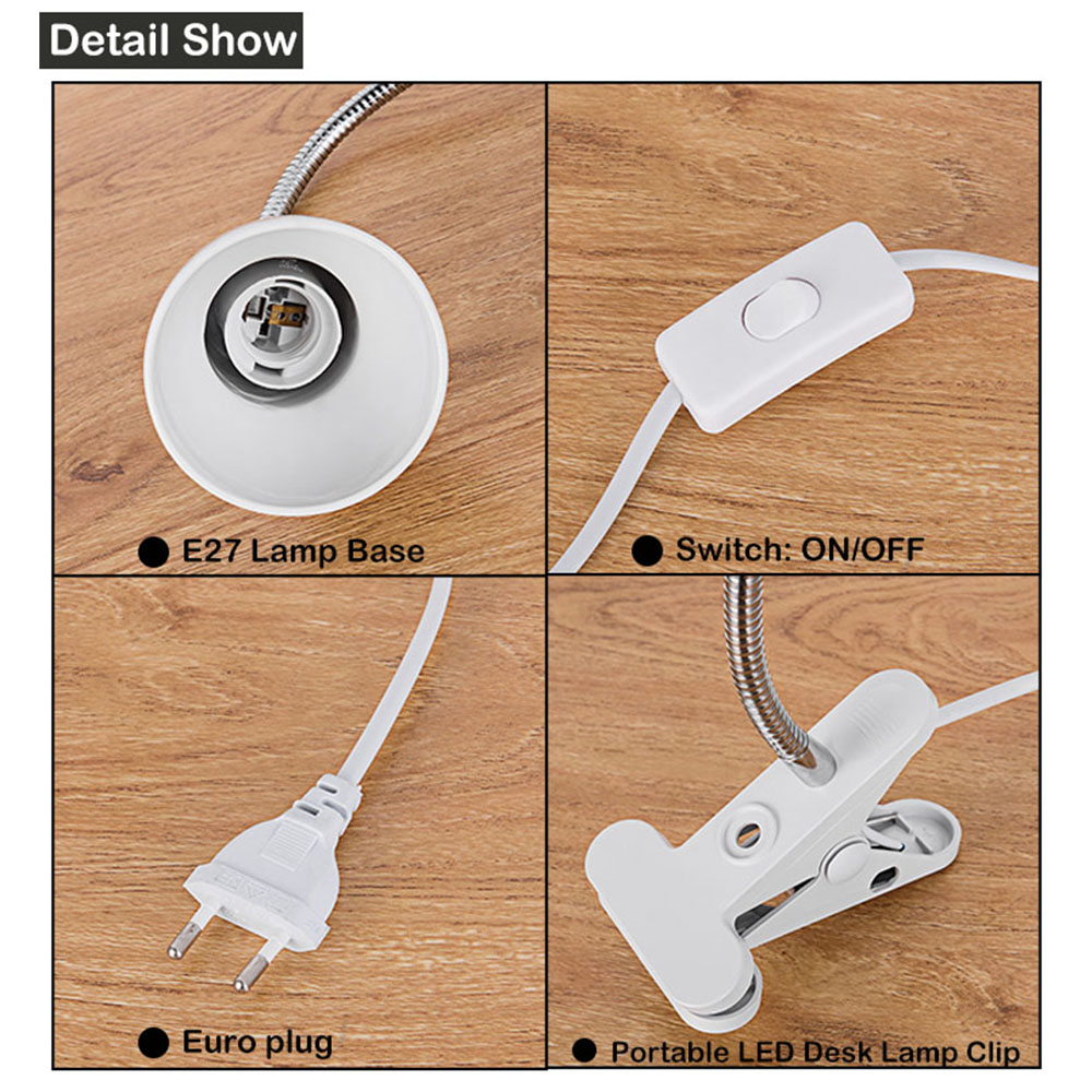 Image 4 - Adjustable Reading LED Desk Lamp E27 Light Holder With Clip Switch,360 Degree Twisted Flexible Metal Tubing led Table lightled desk lampdesk lampdesk lamp e27 -