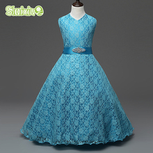 Formal Wedding Celebration Party Grils Dress Children's Clothes Lace Sleeveless Kids Girls Princess Dresses 5 Colors For 6-15y