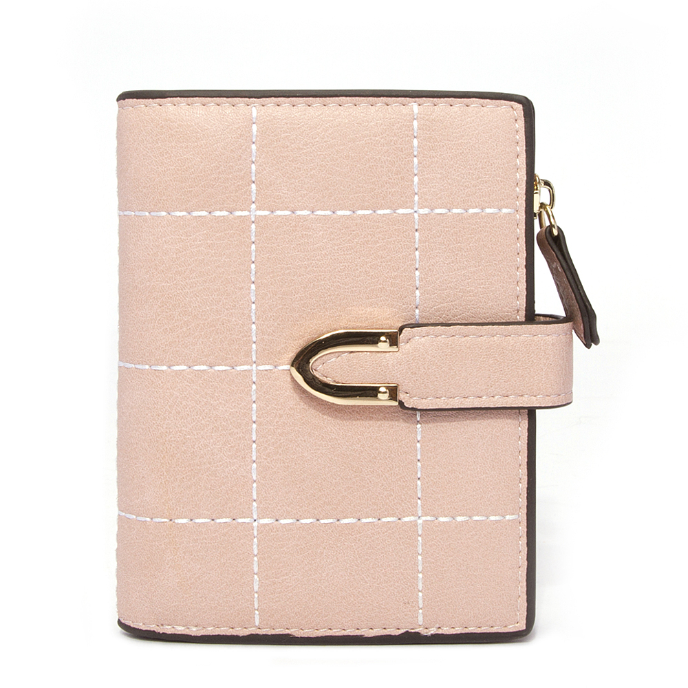 Female Wallet Purses Card-Holder Coin-Pocket Small Short Women Plaid Pink And NEW