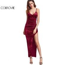 COLROVIE Sexy Club Dresses New Arrival Slip Dress Burgundy Surplice Front Ruched High Slit Velvet Cami