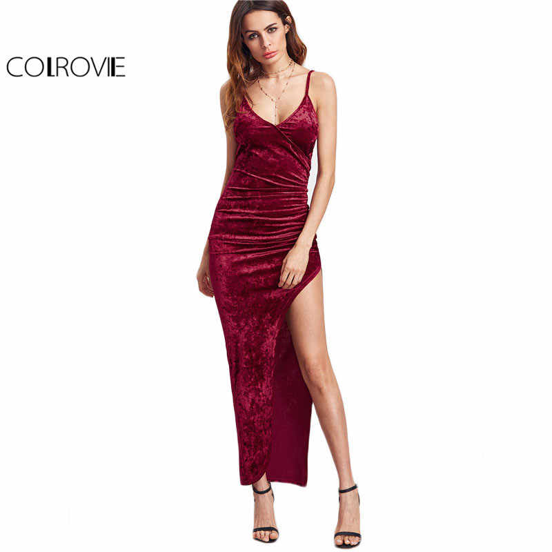 ce97ea7c5a0fd COLROVIE Sexy Club Dresses New Arrival Slip Dress Burgundy Surplice Front  Ruched High Slit Velvet Cami
