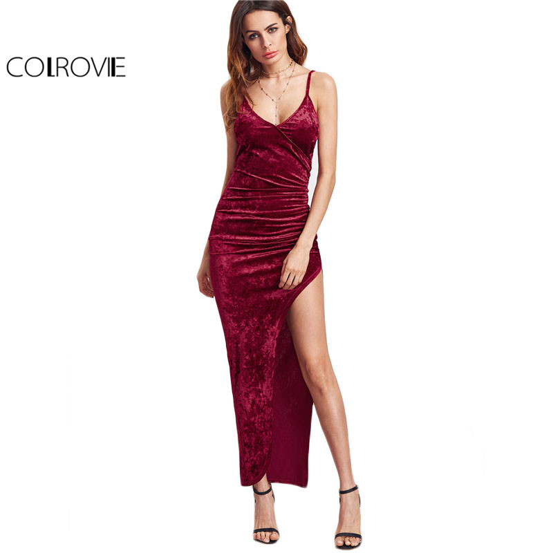 COLROVIE Sexy Club Dresses New Arrival Slip Dress Burgundy Surplice Front Ruched High Slit Velvet font