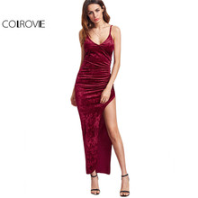 COLROVIE Sexy Club Dresses New Arrival Slip Dress Burgundy Surplice Front Ruched High Slit Velvet Cami Dress