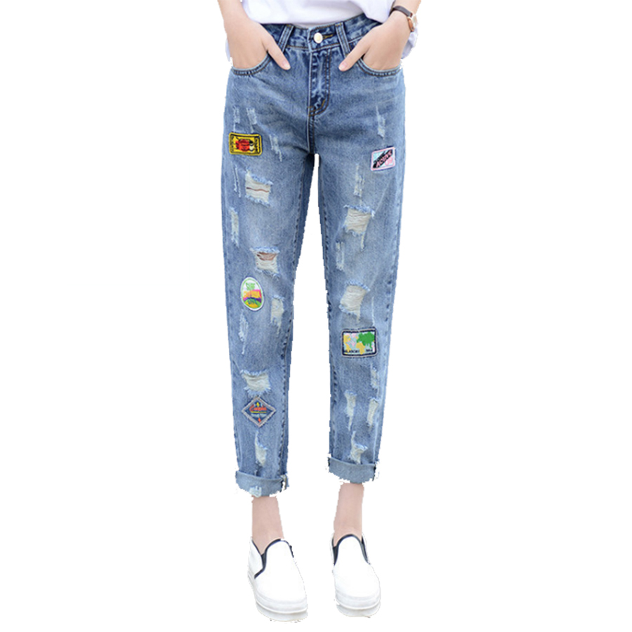 casual holes high waist hole boyfriend jeans women denim. Black Bedroom Furniture Sets. Home Design Ideas