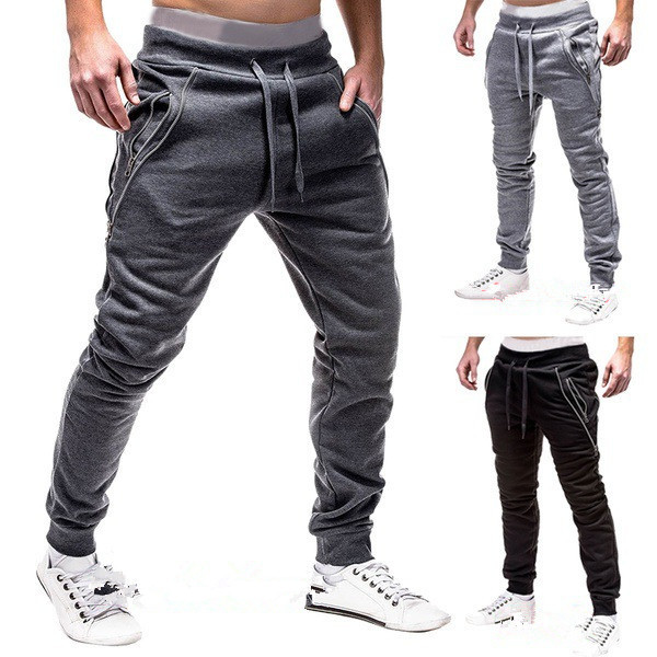 Men's Sports Fitness Casual Fashion Pants Drawstring Zipper Pocket Design Jogging Pants Solid Colour Simple Style Pencil Pants