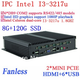 Intel Dual Core I3 24 Hours IPC Gigabit Ethernet 6 USB 6 COM 8G RAM 120G SSD WIN7 WIN8 LINUX NAS Free Drive 7 24 Hours
