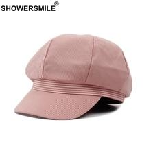SHOWERSMILE Octagonal Cap Women Striped Cotton Newsboy Female Pink Fashion Duckbill Beret Hat Ladies Summer Painter Hats
