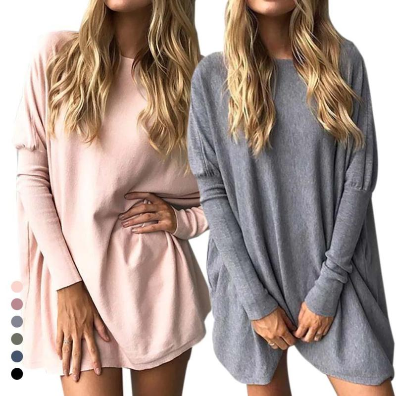 2017 women Sweater Shir Long Sleeve Plus Size Tee Pullover Elegant Knitwear Loose Female T