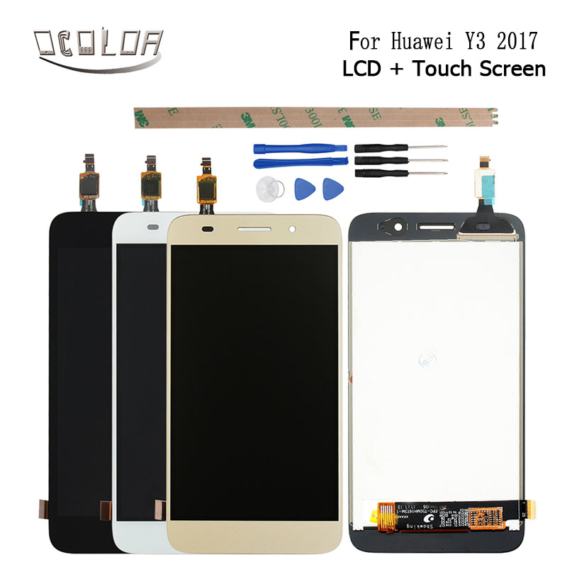 US $13 9 7% OFF|ocolor For Huawei Y3 2017 LCD Display and Touch Screen  Screen Digitizer Assembly Replacement+Tools And Adhesive For Huawei Y3-in