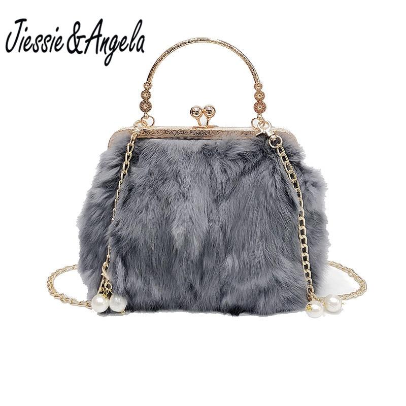 Jiessie & Angela 2018 Winter Soft Faux Fur Bag Ladies Crossbody Shoulder Bags Tote Fashion Women Handbag Warm Plush Handbag jiessie