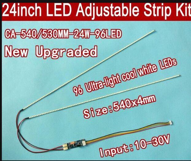 Free Shipping 20pcs 24'' 540mm Adjustable Brightness Led Backlight Strip Kit,Update 24inch-wide LCD CCFL Panel To LED Backlight