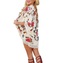 Beach Floral Print Cardigan Cover Up 2018 Women Sexy Nylon Lace Patchwork Ups Chiffon Dress Bathing Suit