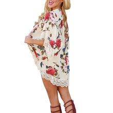 все цены на Beach Floral Print Cardigan Cover Up 2018 Women Sexy Nylon Lace Patchwork Beach Cover Ups Chiffon Dress Beach Bathing Suit онлайн