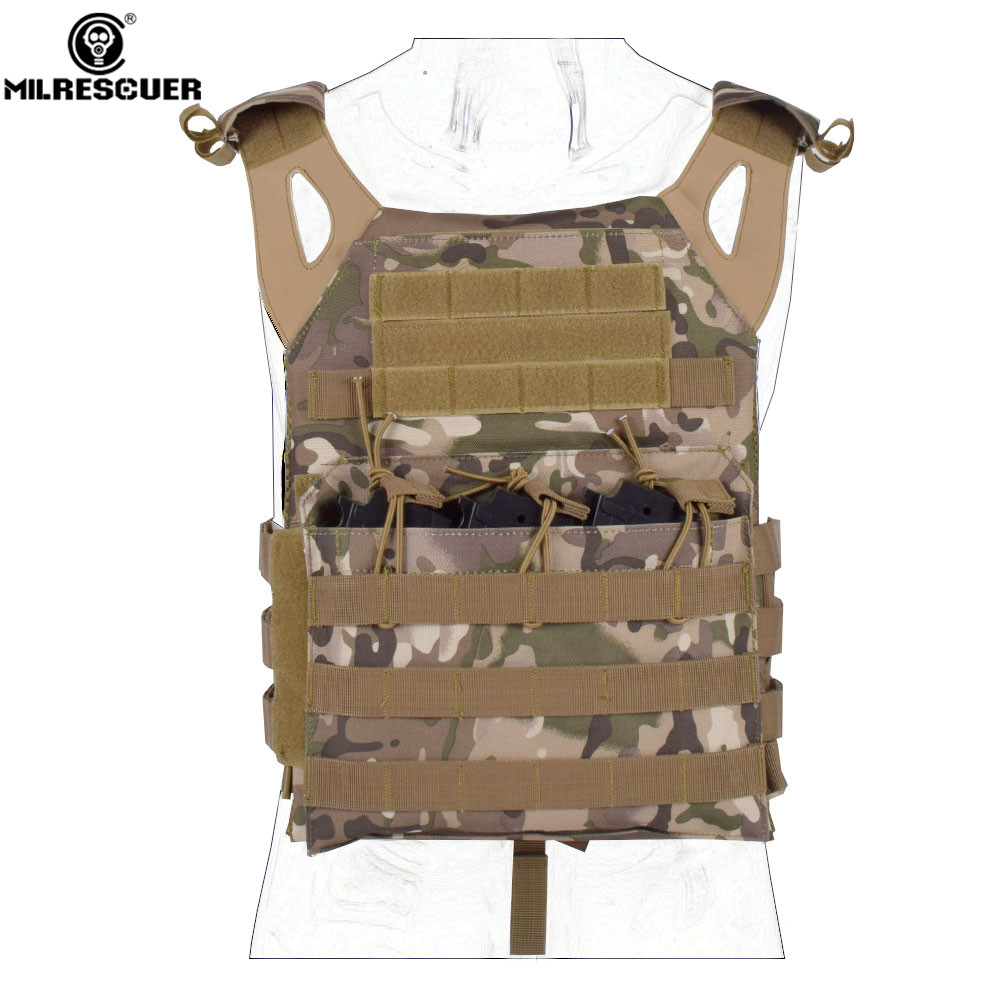 MILRESCUER Camouflage Hunting Military Tactical Vest Wargame Body Molle Armor Hunting JPC Vest Airsoft Combat Gear tactical military vest combat hunting vest outdoor molle armor airsoft assault shooting camouflage vest with gun holster