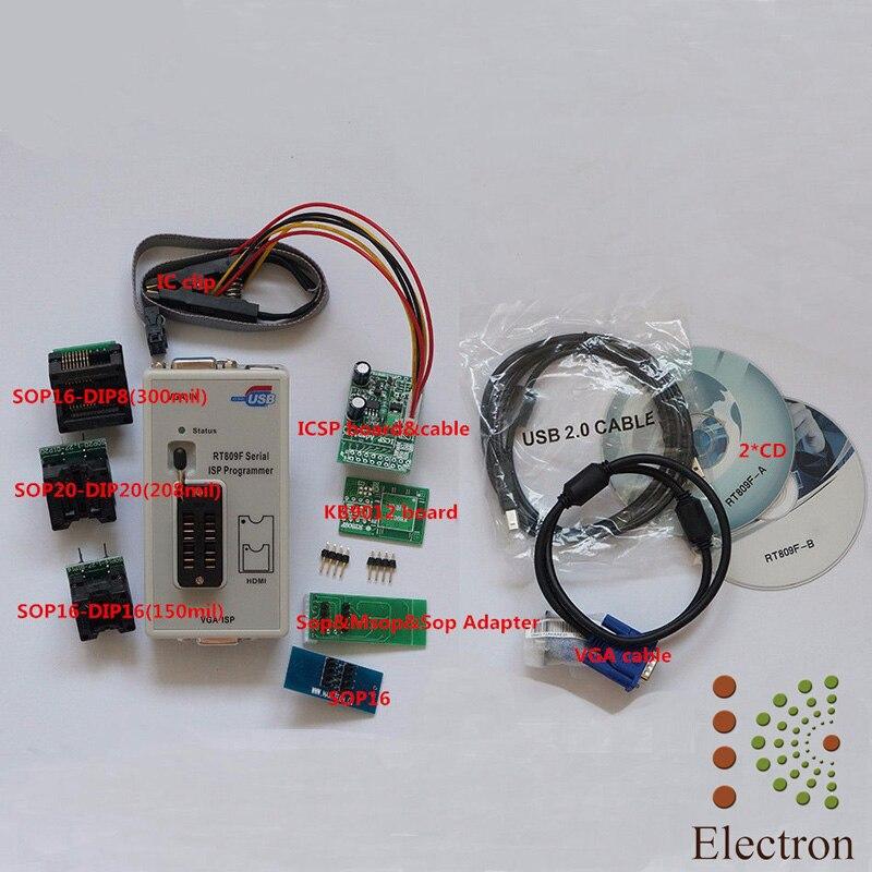 RT809F programmeur d'outils de réparation de PC USB + 7 adaptateurs + SOP16 SOP20 IC Clip LCD lecteur LCD BIOS fai/USB/VGA