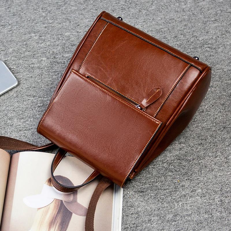 Mode Cadeau Coréen Livre d Pack a C Sacs Cuir Huile b Vintage En Dos À Doux Cire Sac Femmes Style Moderne De Courses Vache Comme D'écolier aFSdqU1a
