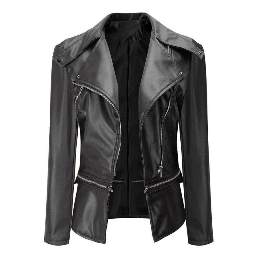 Woweile#4001 Fashion Vintage Women Biker Motorcycle Leather Zipper Jacket Overcoat Outwear