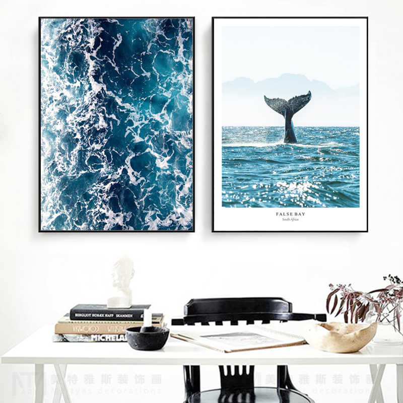 Nordic Ocean False Bay Wall Art Ocean Waves Canvas Painting Whale Tail Posters and Prints Modern  Pictures for Living Room Decor