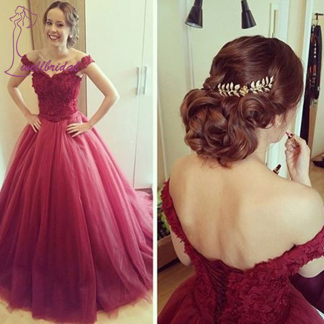 abc5dc5ee039f 2019 Burgundy Off Shoulder Puffy Prom Dresses -For Women Applique Tulle  Court Train Party Evening