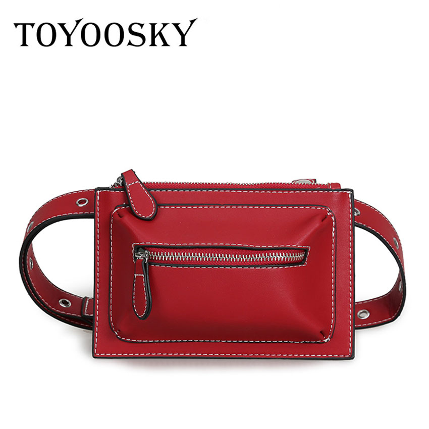6e24b57306 TOYOOSKY Fashion Women Waist Bag PU Leather Fanny Pack For Female Girl  Travel Belt Bag 2018 Newest Chest Bags Chain Shoulder Bag